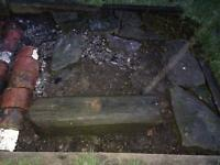 Salvaged railway sleeper / gate post beam