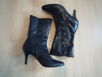 Ladies, black mid-calf, Victorian style boots size 6 1/2