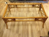 Bamboo glass topped coffee table £15
