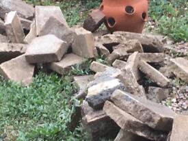Broken slabs from crazy paving