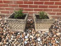 Pair of Concrete Garden Planters