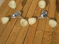 2x ceiling chandeliers :chrome coated with 3 bulb units. Two for £20