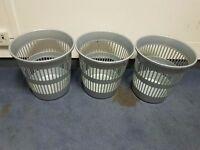 3 x silver plastic office wastepaper basket/bins