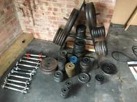 Weight set and bench with extra equipment