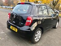 2011 BLACK NISSAN MICRA-SATNAV,ACENTA-5DOORS 1.2- NEW SHAPE,55000 MILES,ONE OWNER,MOT DEC2018,ALLOYS