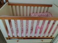 Cot and matching dresser