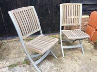 Set of 6 teak and metal folding garden chairs