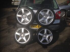 VAUXHALL 4 STUD MULTIFIT 5 SPOKE 16 INCH ALLOY WHEELS AND TYRES