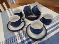 DENBY Imperial Blue 6 new cups & saucers