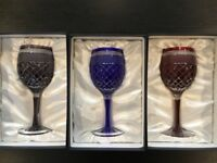 Wine glasses handcrafted by Edo Kiriko (Japan) - set of 3