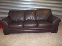 Large Brown Full Hide Leather 3+2-seater Suite