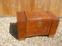 Large Antique Carved Asian Chinese Oriental Camphor Wood Chest Storage Trunk Box
