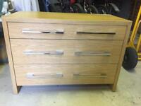 Chest of drawers & bedside drawers.