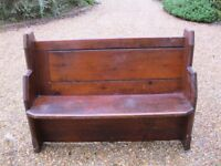 125 cm OLD PINE CHURCH PEW. Deliverey possible. ALSO CHAPEL CHAIRS & DIFFERENT PEWS FOR SALE.