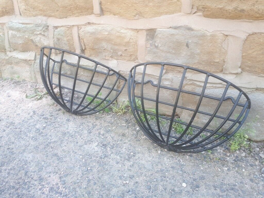 Pair Of Vintage Retro Black Metal Plasticoated Garden Wall Planter