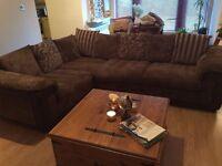 DFS Brown Fabric Right-hand Corner Sofa - Perfect Condition