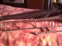 A BOOSEY & HAWKES SMALL BORE TROMBONE In GOOD CONDITION with MOUTHPIECE & POOR CASE >