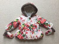 Ted Baker Baby Girl Snow Flower Rose Jacket with Mittens, 9-12 Months