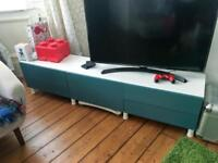IKEA Besta teal table stand with drawers