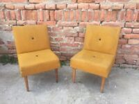 Set of Vintage Waiting 60s CHAIRs Quirky Furniture Seat Retro Decor Mid-Century
