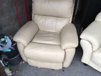 CREAM LEATHER RECINING ARM CHAIR,CAN DELIVER