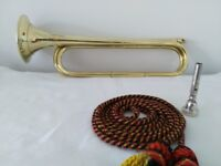 CAVALRY E FLAT BRASS TRUMPET WITH MOUTHPIECE & CORDS