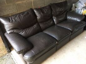 Leather Sofa with recliners in chocolate brown - 3 seater