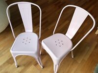 Metal dining/kitchen chair, Tolix café style, set of two, pink. Inspired by Xavier Pauchard