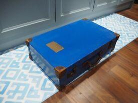 Large Vintage Suitcase Painted Blue