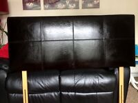 Brown Leather Double Headboard