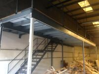MEZZANINE FLOOR ABSOLUTE BARGAIN 34ft X 10ft COMPLETE WITH STAIRS FOR £1250