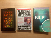 BOOK BUNDLE - A Brief History Of Time, This Book Will Blow Your Mind, Introducing NLP