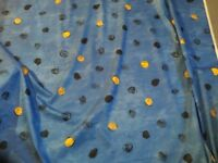 Blue cotton curtain fabric, new