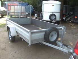 FULLY GALVANISED 7-6 X 4-6 APPROX GOODS/TRANSPORTER TRAILER WITH RAMP-TAIL...