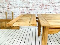 Farmhouse Dining Table Extendable- Square Leg Extendable Choice of Finish Contemporary