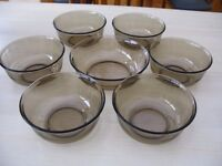 Vintage French Arcoroc brown Smoked Glass sundae/fruit dishes