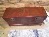 """LOVELY VINTAGE ORIENTAL WOODEN PAINTED TRUNK/CHEST/COFFEE TABLE. 44"""" X 14"""" X 21""""."""