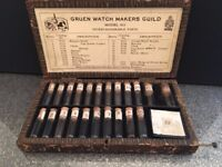 Antique vintage Jewelers Gruen Watch Makers Guild Box with interchangeable parts