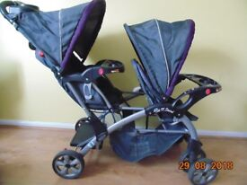 "Baby Trend Sit ""n"" Stand Double Pushchair + Rain Cover"