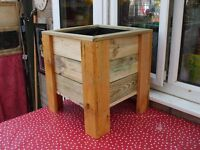 NEW 16 INCH SQUARE WOODEN PLANTER