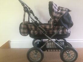 Silver Cross Doll's Pram in pink and grey check, Excellent condition