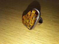 Ladies Amber/Silver Ring
