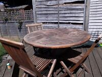 Teak Garden table with 3 chairs