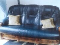 3 piece leather navy blue suite, with two adjuster chairs. £125 .