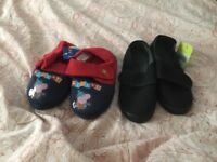 Kids gym shoes and George pig slippers
