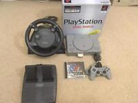 Ps1 boxed with steering wheel and pedals