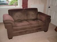 Natuzzi 3 seater , 2 seater settees & matching footstool in red/brown