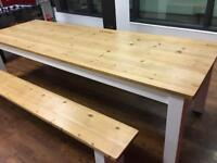 Large table and matching benches (about 8ft)