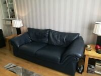 3 Seater and 2 Seater Reids Quality Leather Sofas in Navy Blue Colour