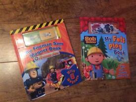 Two play books - Bob the Builder Felt play book, Fireman Sam magnet book
